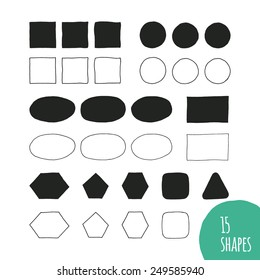 Vector hand illustrated shapes. Universal marks and badges for your design.