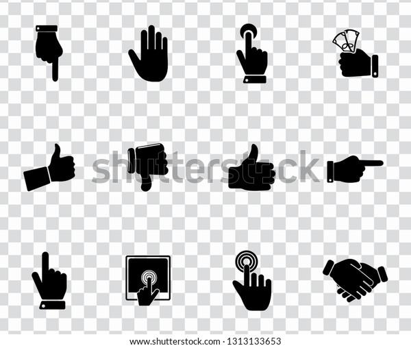 vector hand language icons set - gesture sign symbol. communication icons