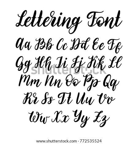 vector hand lettering alphabet calligraphy font stock vector