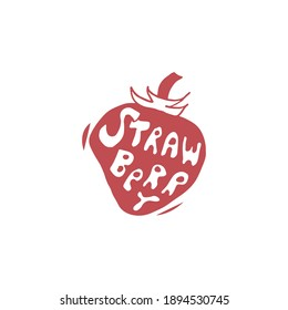 Vector hand lettering illustration of strawberry. Isolated on the white background. Vintage hand drawn logo design of sweets and candies.