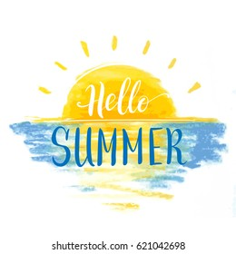 vector hand lettering motivation phrase 'hello summer' on drawn in a pastel background with the sun and the sea