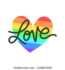 Vector hand lettering poster- Love. Gay parade banner. Hand lettering on rainbow heart