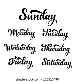 Vector hand lettering set of the days of the week. Sunday, monday, tuesday, wednesday, thursday, friday, saturday. Modern calligraphy. Isolated typography print. Hand drawn clipart.