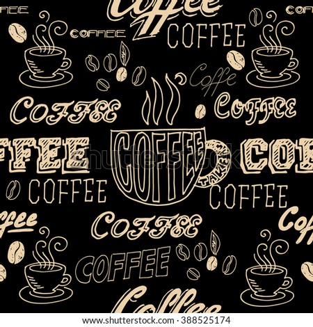 vector hand lettering signs coffee menu seamless pattern