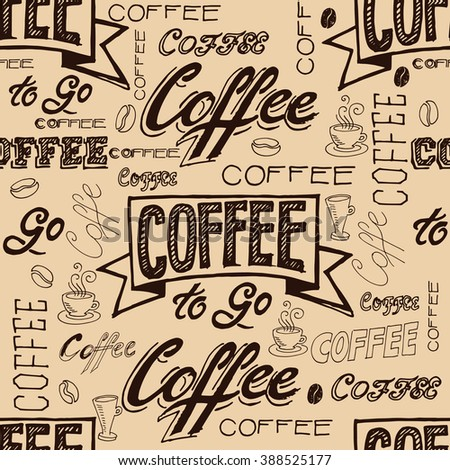 vector hand lettering signs coffee seamless pattern