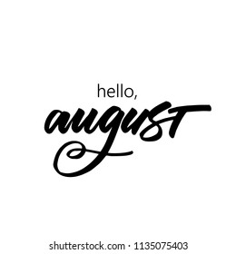 VECTOR HAND LETTERING SUMMER MONTH. HELLO AUGUST