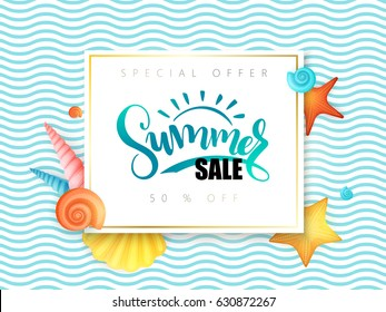 vector hand lettering summer sale banner surrounded with detailed flat and doodle seashells on wave background.