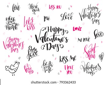 vector hand lettering valentine's day greetings labels set with heart shapes and birds.