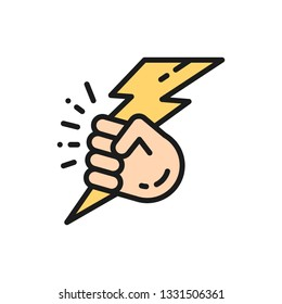 Vector hand with lightning, power flat color line icon.