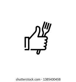 Vector hand like icon template. Thumbs up sign background. Good food logo illustration with fork sign. Line symbol for farmers market, cafe, restaurant, catering, cooking business