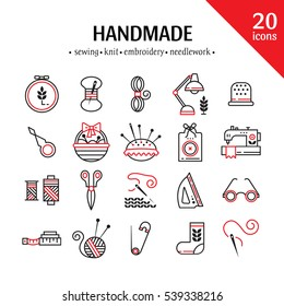 Vector Hand made icons set - symbols or logos of sewing, knit, embroidery, needlework. Perfect for banners, flyers and web design.