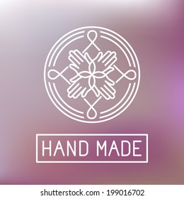 Vector hand made label in outline trendy style - hands icon and text, element for graphic design - logo design template