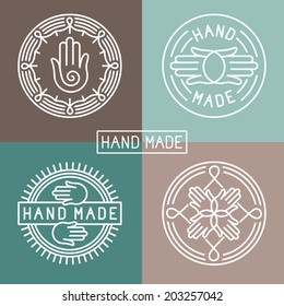 Vector hand made label in outline trendy style - hands icon and text - abstract design elements - logo design template