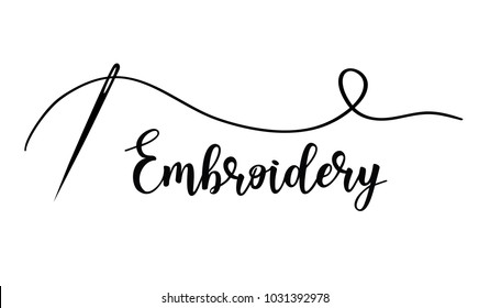Vector hand made symbol in trendy line style isolated on white background. Embroidery with needle. Logo in linear style.