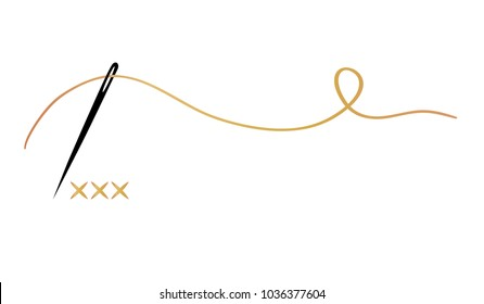 Vector hand made symbol in trendy line style isolated on white background. Cross-stitch. Logo in linear style.