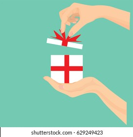 Vector of hand open giftbox, Give, presenting gift with red ribbon.