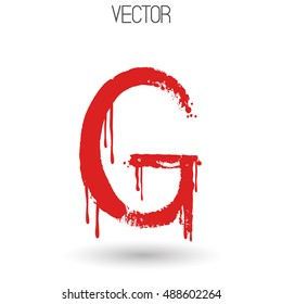 Vector hand paint with dry brush letter G isolated on white background. Red paint. Calligraphic. Grunge. Alphabet symbol. Brutal aggressive sloppy font. Bloody character. Blood, Halloween. Eps 8.