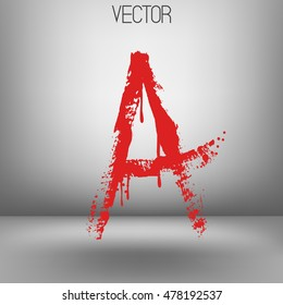 Vector hand paint letter A. Hand drawn letter with dry brush. Red paint.Calligraphic. Grunge. Alphabet symbol. Brutal aggressive sloppy font. Bloody character. Blood, Halloween.