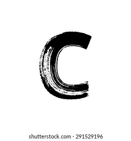 Vector hand paint letter C. Hand drawn letter with dry brush.