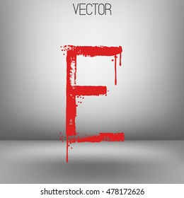 Vector hand paint letter E. Hand drawn letter with dry brush. Red paint.Calligraphic. Grunge. Alphabet symbol. Brutal aggressive sloppy font. Bloody character. Blood, Halloween.