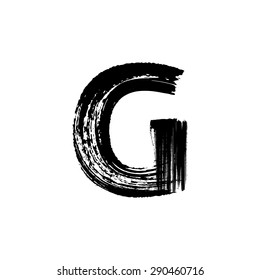 Vector hand paint letter G. Hand drawn letter with dry brush.