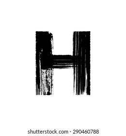 Vector hand paint letter H. Hand drawn letter with dry brush.