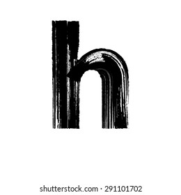 Vector hand paint letter h. Hand drawn letter with dry brush. Lower case