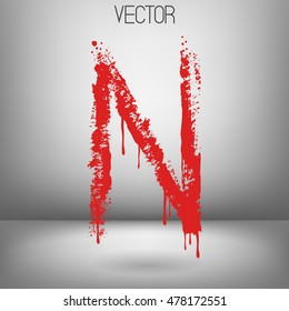 Vector hand paint letter N. Hand drawn letter with dry brush. Red paint.Calligraphic. Grunge. Alphabet symbol. Brutal aggressive sloppy font. Bloody character. Blood, Halloween.