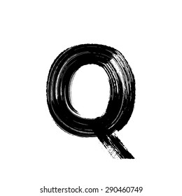 Vector hand paint letter Q. Hand drawn letter with dry brush.
