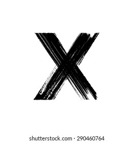 Vector hand paint letter X. Hand drawn letter with dry brush.