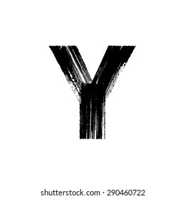 Vector hand paint letter Y. Hand drawn letter with dry brush.