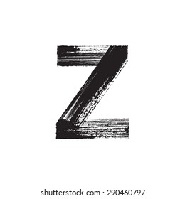 Vector hand paint letter Z. Hand drawn letter with dry brush.