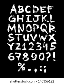 Vector hand painted grungy alphabet - white