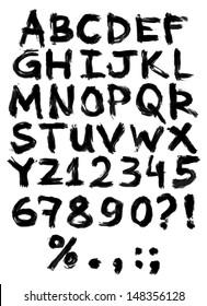Vector hand painted grungy alphabet - black