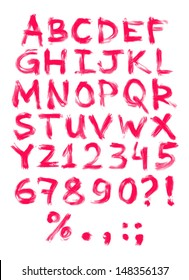 Vector hand painted grungy alphabet - red