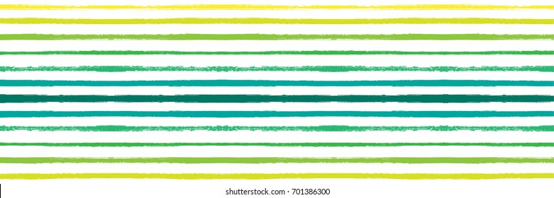 Vector Hand Painted Striped Summer Pattern. Flat Wide Horizontal Long Flyer Design. Watercolor Vintage Retro Green, Blue, Yellow Stripes on White. Funky Doodle Texture. Grunge Hipster Cover Design.