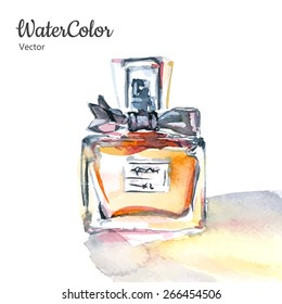Vector hand painting watercolor illustration of glass perfume bottle. Eps10
