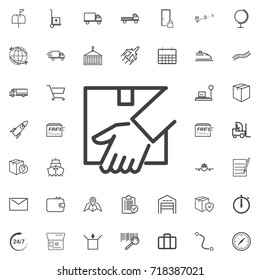 Vector hand and parcel line icon logistics transportation parcel shipping delivery icons set Flat isolated on the white background. Vector illustration.Trendy style for graphic design logo