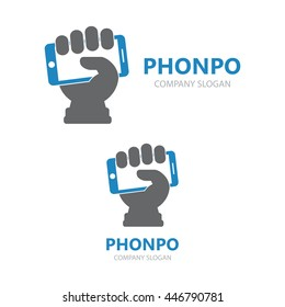 hand phone logo design template stock illustration 478209634
