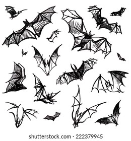 Vector hand pictured charcoal grunge background with bunch of flying black bats,isolated on the white