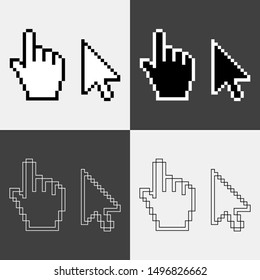 Vector Hand Pointer and Mouse Cursor Icon Template. Pixel cursors icons, mouse hand and arrow. Vector Illustration