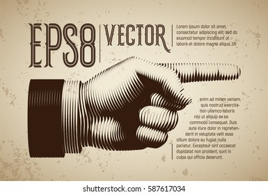 Vector hand with pointing finger in line engraving style. Eps8. RGB. Global colors