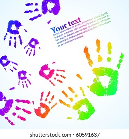 the vector hand print abstract color background eps 10