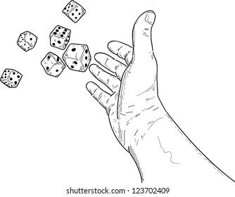 vector - hand rolling  dice isolated on white background