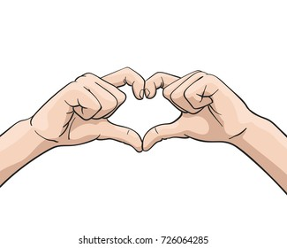 Vector hand showing heart shape gesture, Illustration in colored sketch style isolated on white background