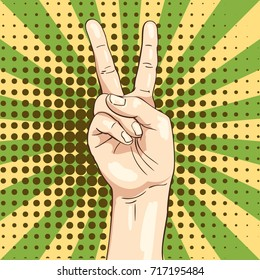 Vector hand shows victory sign Two fingers, Illustration in sketch retro style isolated on pop art background of rays and halftone dots
