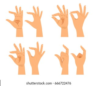 Vector hand size signs or hands thickness gestures isolated on white background