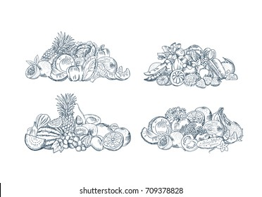 Vector hand sketched fruits and vegetables piles set isolated on white background