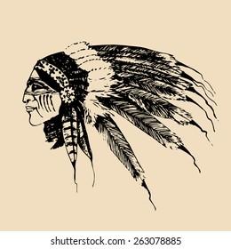 Vector hand sketched illustration of Indian man portrait. Vector camp logo. Hand drawn vintage tourist label. Retro hipster emblem of outdoor adventures.