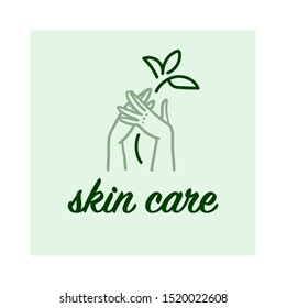 Vector hand skin care logo design concept with human lady hands illustration icon in hand drawn style isolated on light background. Hand cream emblem, moisturizer packaging badge, body care etc.